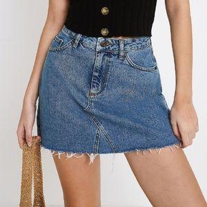 UO BDG Vintage Like Distress Denim Skirt Sz S